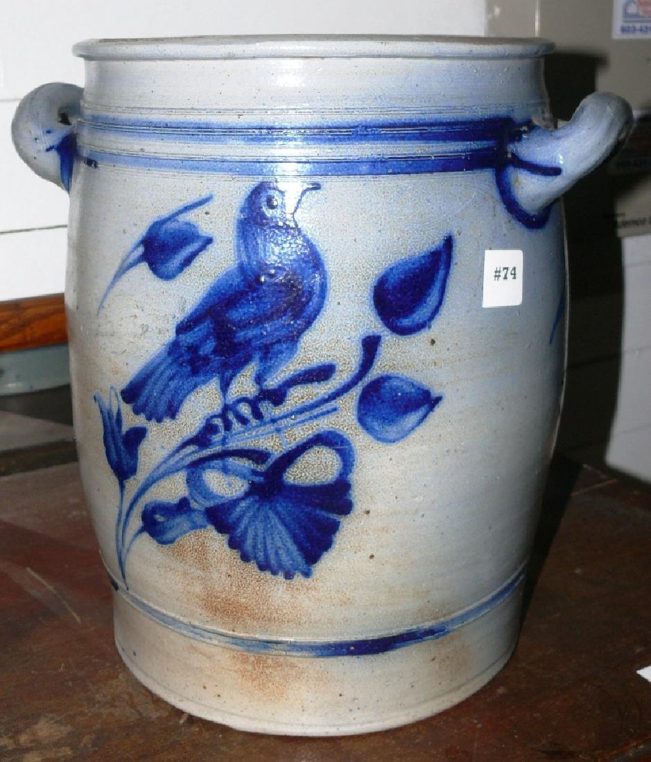 16 qt dec stoneware crock w/bird front, floral reverse