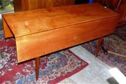 Repro David LeForte curly maple dropleaf harvest table