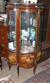 Verni Martin curio cabinet w/quality painted panels, 5'