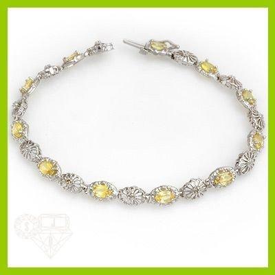 Genuine 3.45 ctw Yellow Sapphire & Diamond Bracelet Gol