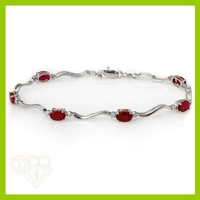 Genuine 4.05 ctw Ruby & Diamond Bracelet White Gold
