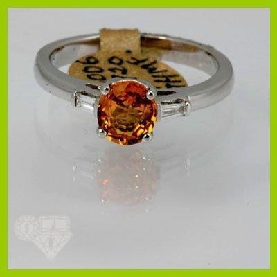 Genuine  1.30 ctw Orange Sapphire & Diamond Ring 14KT W