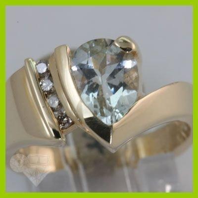Genuine 1.82 ctw Aquamarine & Diamond Ring 14KT Gold-Ye