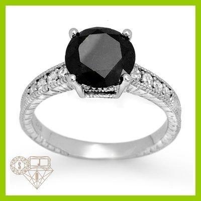 Genuine 3.02 ctw White & Black Diamond Ring 14KT Gold