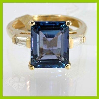 Genuine  5.46 ctw Tanzanite & Diamond Ring 14KT Yellow