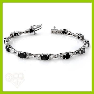 Genuine 7.14 ctw Sapphire & Diamond Bracelet White Gold