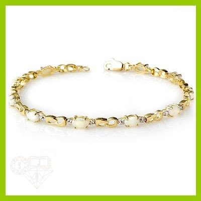 Genuine 1.29 ctw Opal & Diamond Bracelet Yellow Gold