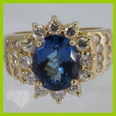 Genuine  5.54 ctw Tanzanite & Diamond Ring 14KT Yellow