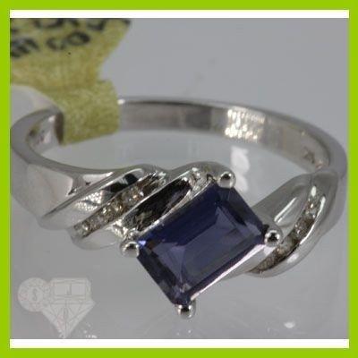 Genuine  0.84 ctw  Iolite Ring  14KT White Gold  Ring S