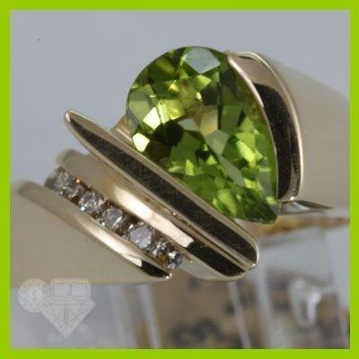 Genuine 1.97 ctw Peridot & Diamond Ring 14KT Gold-Yello