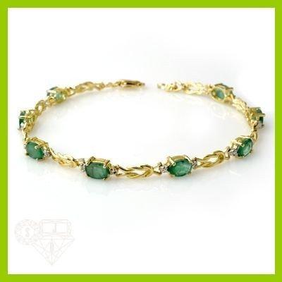 Genuine 4.14 ctw Emerald & Diamond Bracelet Yellow Gold