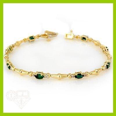 Genuine 2.78 ctw Emerald & Diamond Bracelet Yellow Gold