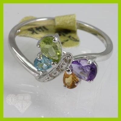 Genuine  1.015 ctw  Multi Sapphire Ring  14KT White Gol