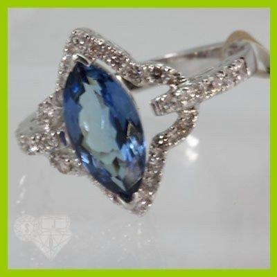 Genuine  2.16 ctw Tanzanite & Diamond Ring 14KT White G