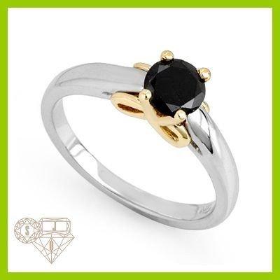 Genuine  0.57 ctw Black Diamond Ring 14KT Multi tone Go