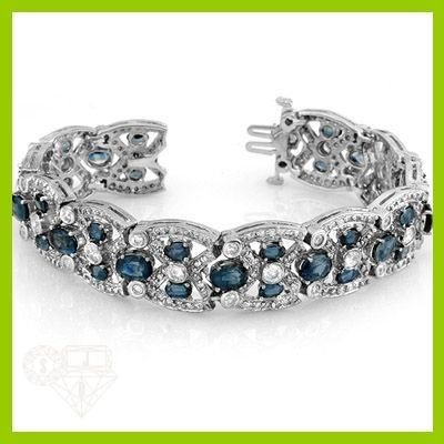 Genuine 33.03 ctw Blue Sapphire & Diamond Bracelet Gold