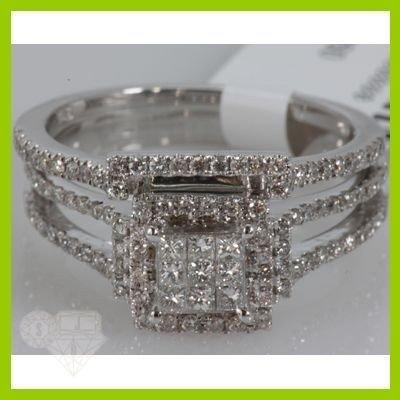 Genuine 0.89 ctw Princess cut Diamond Ring 14kt White G