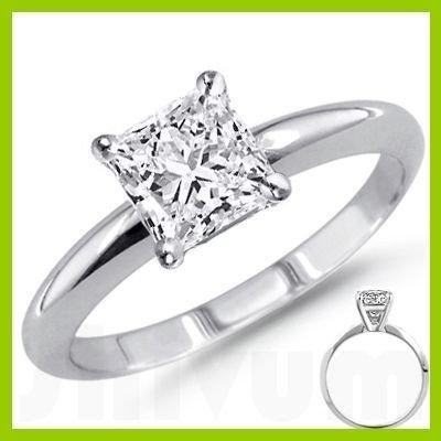 1.00 ct Princess cut Diamond Solitaire Ring, I-J, SI2