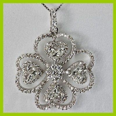 Genuine 1.698 ctw Princess Cut & Diamond Pendant 18kt