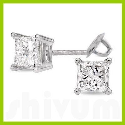 1.75 ctw Princess cut Diamond Stud Earrings F-G, SI2