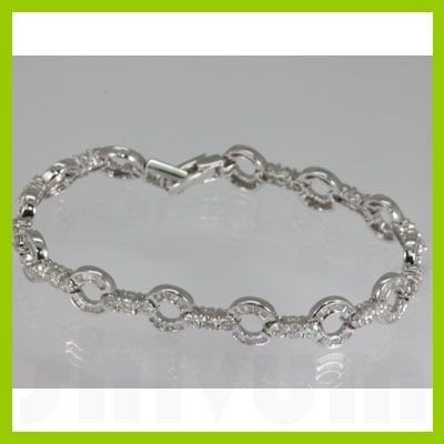 Genuine  3.73 ctw Diamond Bracelet 18KT White Gold