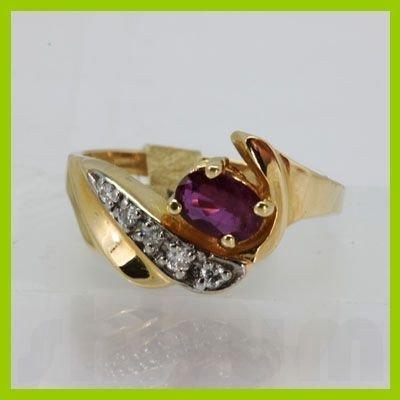 Genuine 0.61 ctw Ruby & Diamond Ring 14KT Yellow Gold
