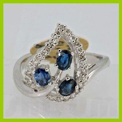 Genuine 1.05 ctw Sapphire & Diamond Ring 14K White Gold