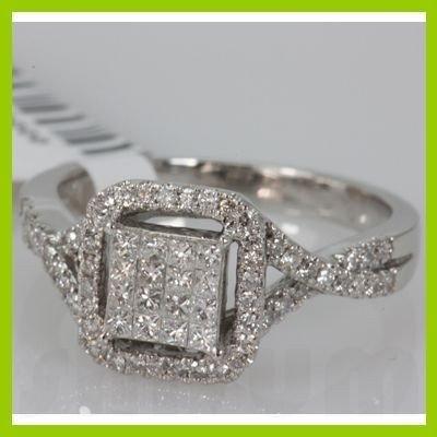 Genuine 0.77ctwPrincess cut Diamond Ring14kt White Gold