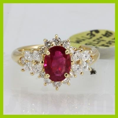 Genuine 2.12 ctw Ruby & Diamond Ring 14KT Yellow Gold
