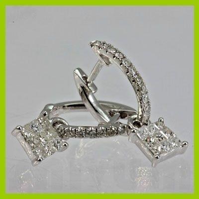 140733455: Genuine 0.64 ctw Pincess Cut &  Diamond Earr