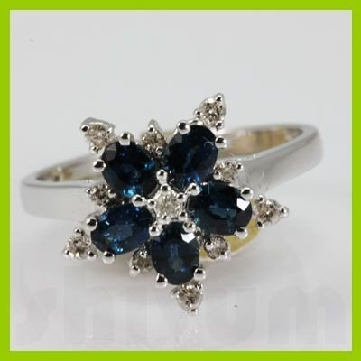 141788006: Genuine  1.62 ctw Sapphire Diamond Ring 14KT