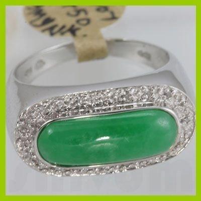142266036: Genuine 17X6MM Green Jade & 0.10 ctw Diamond