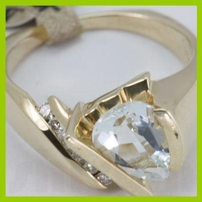 142666018: Genuine 1.84 ctw Aquamarine & Diamond Ring 1