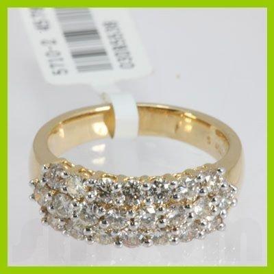 Genuine 1.450 ctw Pave Anniversary Diamond Ring 18kt