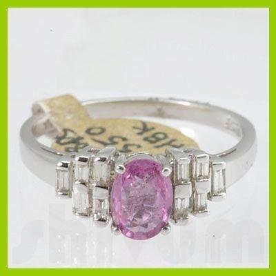 Genuine 1.37 ctw Pink Sapphire & Diamond Ring 14KT