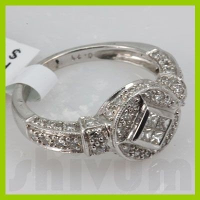Genuine 0.71 ctw 14k Diamond White Gold Ring
