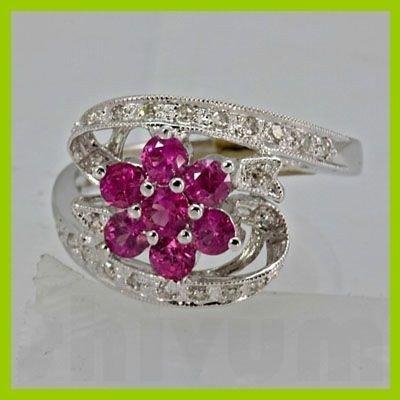 Genuine 1.13 ctw Ruby& Diamond Ring 14KT White Gold