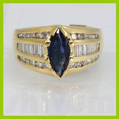 Genuine 2.26 ctw Sapphire Diamond Ring 18k Yellow Gold