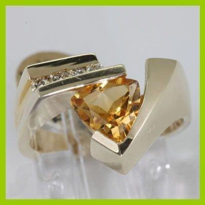 Genuine 1.60 ctw Citrine & Diamond Ring 14K Yellow Gold