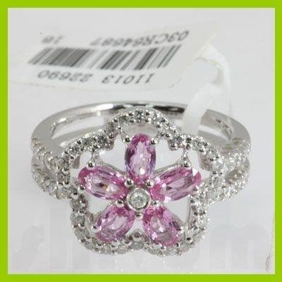 Genuine 1.87 ctw Pink Sapphire & Diamond Ring 14kt