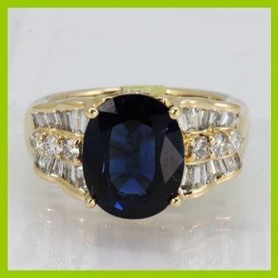 Genuine 5.17 ctw Sapphire Diamond Ring 14k Yellow Gold