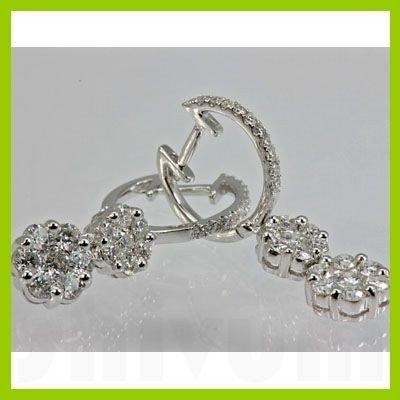 Genuine 1.25 ctw Diamond Earring 18kt Gold-White