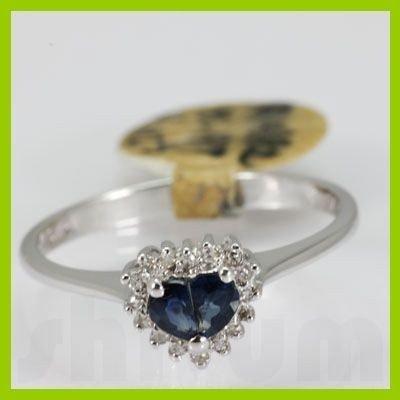 Genuine  0.49 ctw Sapphire Diamond Ring 14KT White Gold