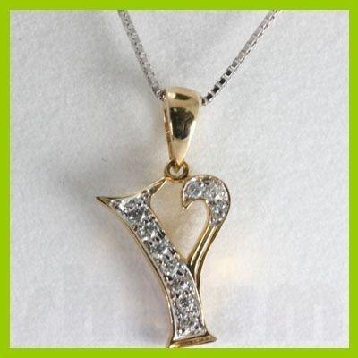 "Genuine 0.10 ctw Letter Y Diamond Necklace 16"" 14kt"