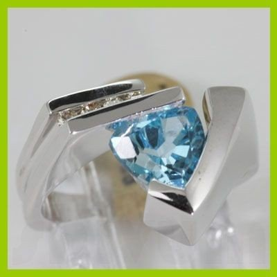 Genuine 2.35 ctw Blue Topaz Diamond Ring 14K White Gold
