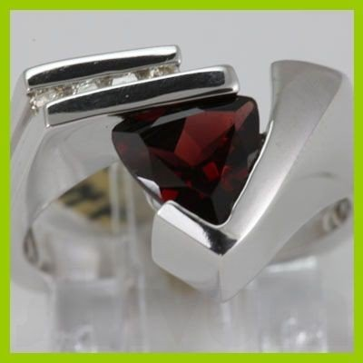 Genuine 1.99 ctw Garnet & Diamond Ring 14KT White Gold