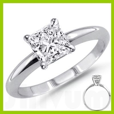 0.90 ct Princess cut Diamond Solitaire Ring, F-G, I