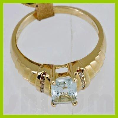 Genuine 1.05 ctw Aquamarine & Diamond Ring 14KT