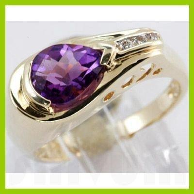 Genuine 1.43 ctw Amethyst & Diamond Ring 14KT