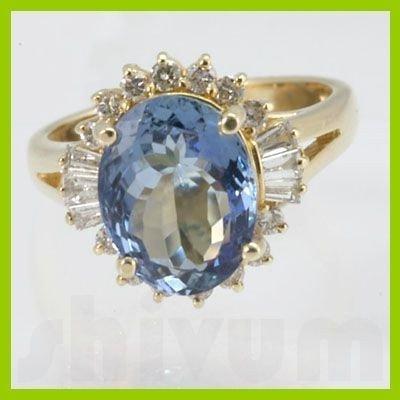 Genuine 4.93 ctw Tanzanite Diamond Ring 14k Yellow Gold